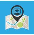 monitor wireless concept wifi pin icon vector image