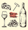 creative sketch of graphic wine elements vector image