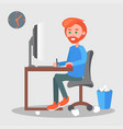 freelancer at the workplace flat vector image