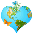 Earth heart vector image vector image