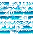 Blue bright flowers and painted stripes seamless vector image