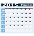Calendar 2015 December design template vector image
