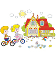 Children riding bicycles vector image