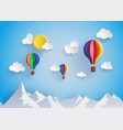 Colorful hot air balloon flyin over moutain vector image