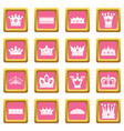 crown icons pink vector image