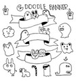 funny monster animal hand drawn with frame for vector image
