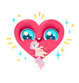 heart and cute unicorn vector image