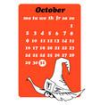 october calendar with skull vector image