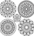 Set mandalas with geometric patterns vector image