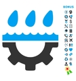 Water Service Flat Icon with Bonus vector image