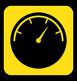 yellow black sign - gauge dial symbol icon vector image