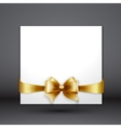 Invitation card with Gold holiday ribbon and bow vector image