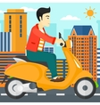 Man riding scooter vector image vector image