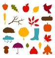Autumn icon and objects set for design vector image