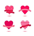 set of cute hearts with ribbons heart vector image