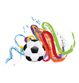 Soccer Ball with Brush Strokes vector image