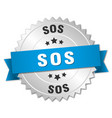 sos 3d silver badge with blue ribbon vector image