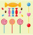 sweets and candies sugar dessert caramel lollipop vector image
