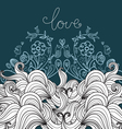 ornamental background with birds enamored vector image