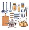 kitchen utensils in a color sketch style vector image