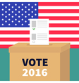 Ballot Voting box with paper blank bulletin vector image