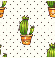 cactus and succulents seamless pattern woth polka vector image