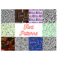 font seamless patterns with letters and numbers vector image