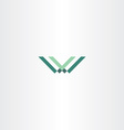 green letter w and v logo vector image