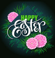 happy easter card with lettering rhombus vector image