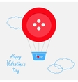 Hot air balloon made of big red button Dash line vector image