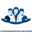 flat style emblem with group of doctors vector image