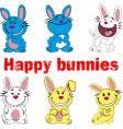 happy bunnies vector image vector image
