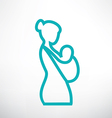 mother is holding her baby in a sling isolated sym vector image