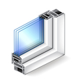 Plastic window in cut isolated on white vector image vector image