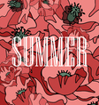 background of red poppies with the word summer vector image