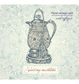 Floral Teapot Invitiation background vector image