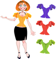 Pretty sexy woman with set of different blouses vector image vector image
