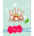 merry christmas card with rabbits frame vector image