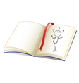 A notebook with a drawing of a girl and a red vector image vector image