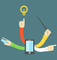 Many hands smart phone concept vector image