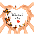 Valentines day background Hands in a shape of a vector image vector image
