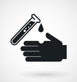 Test tube with acid drop and hand icon vector image