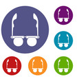 glasses with black round lenses icons set vector image