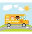 Happy holidays school bus vector image