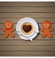 loving couple of gingerbread and coffee cup vector image