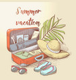 summer beach vacation tropical trip hand drawn vector image