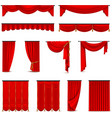 Luxury Red Curtains Draperies Realistic Set vector image
