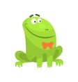 Smiling Green Frog Funny Character With Bow Tie vector image