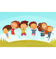 Team Of Cheerful Friends Holding Hands And Jumping vector image