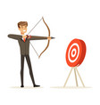 cheerful businessman aiming target with bow and vector image